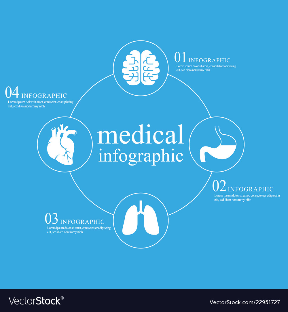 Medical infographic on blue background Royalty Free Vector