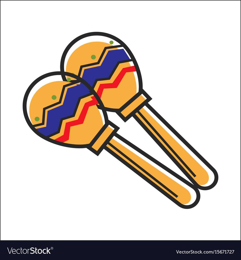 mexican colorful maracas closeup graphic vector image
