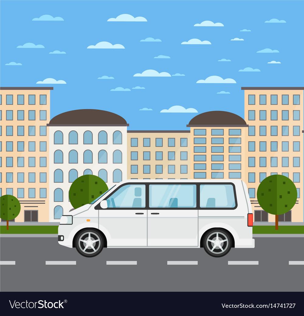 Modern family minivan in urban landscape vector image