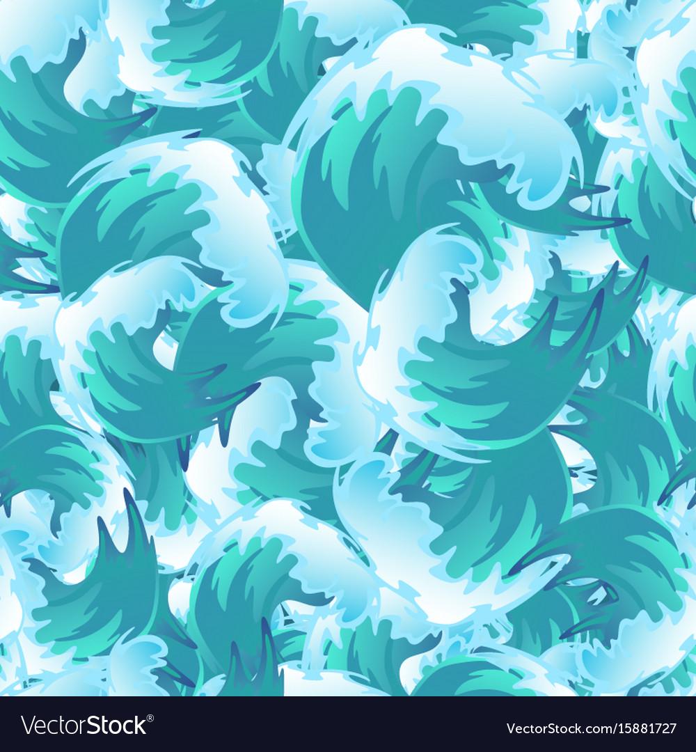 Sea blue water wave seamless pattern ocean border Vector Image  Ocean Water Pattern