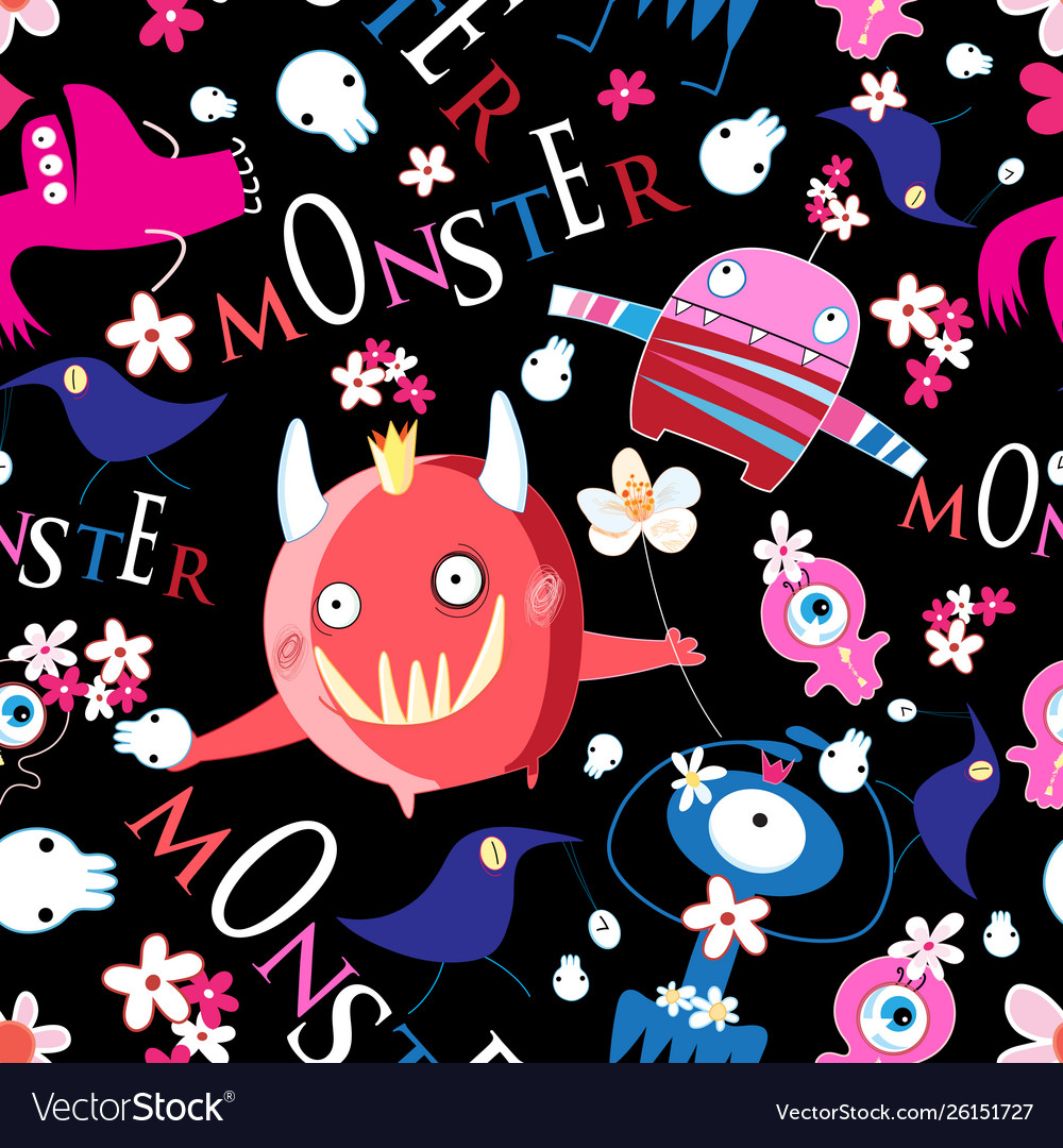 Seamless bright funny halloween pattern of