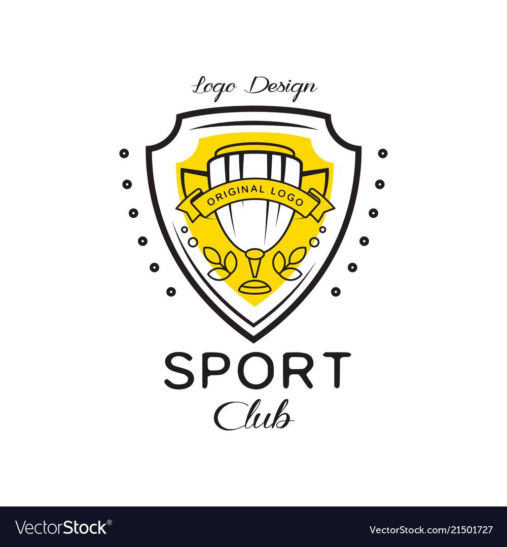 Sport club logo design heraldic shield with