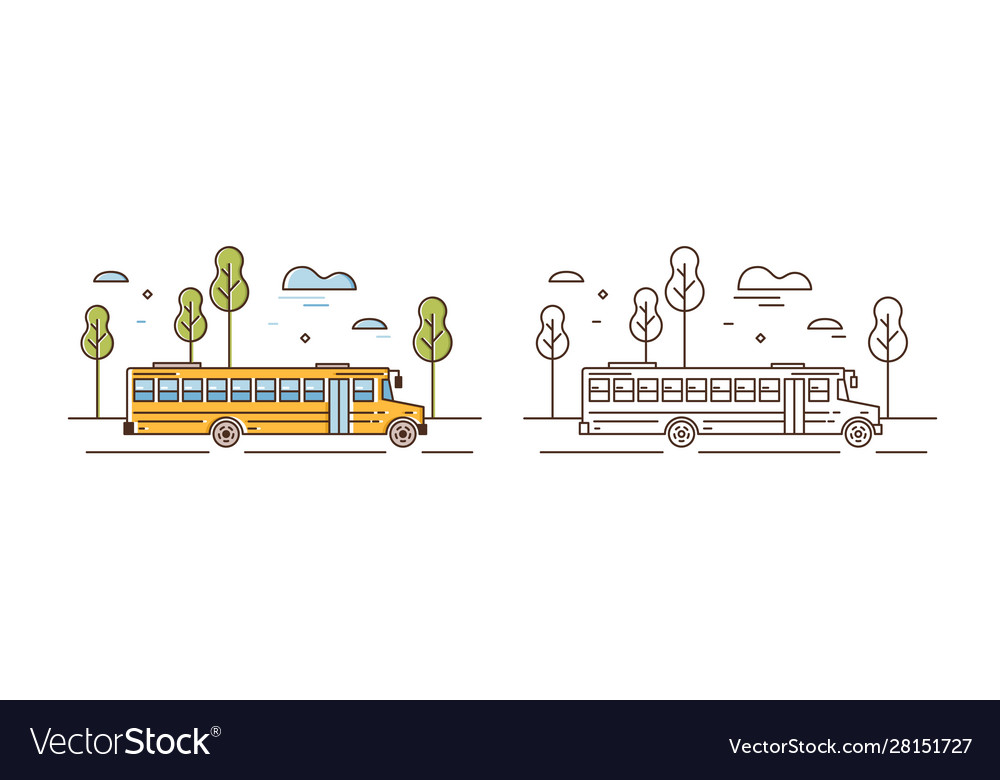 Yellow school bus linear