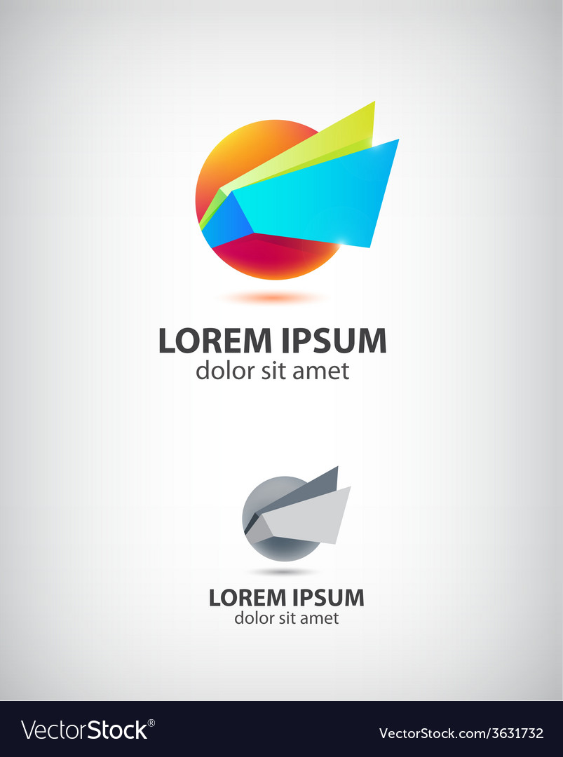 Abstract origami icon logo for company