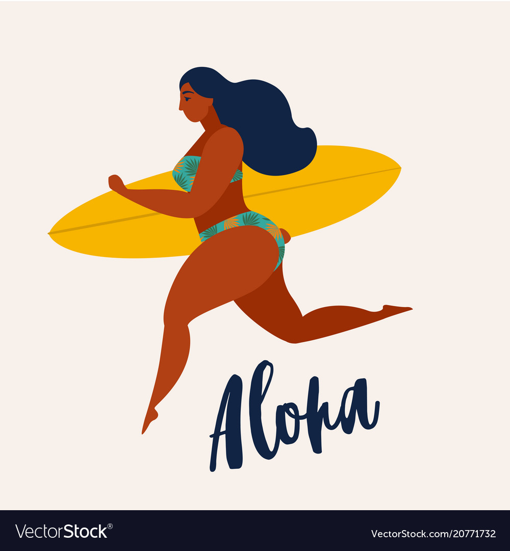 Aloha poster with surfer girl with surfboard