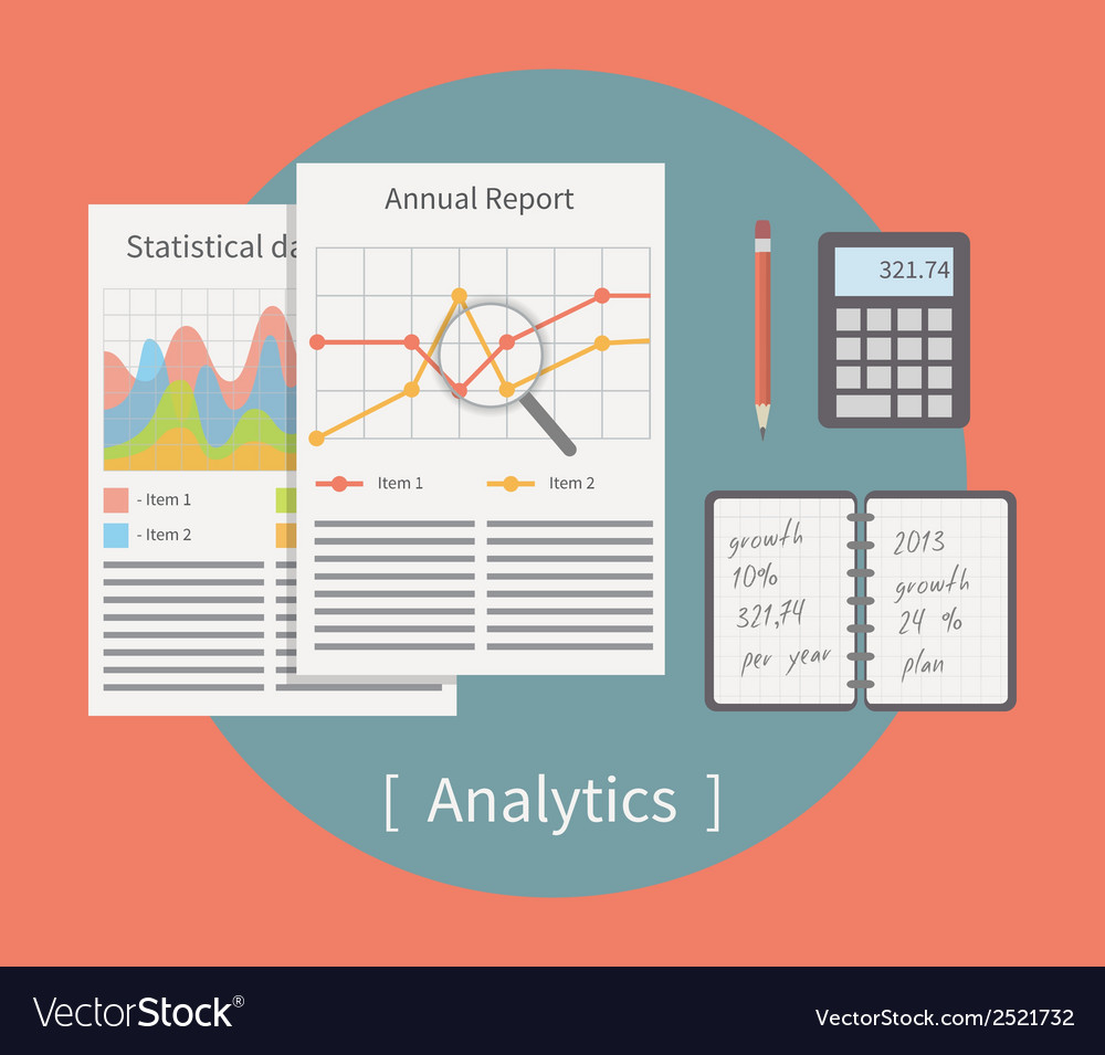 Analytic Business template with charts and graphs