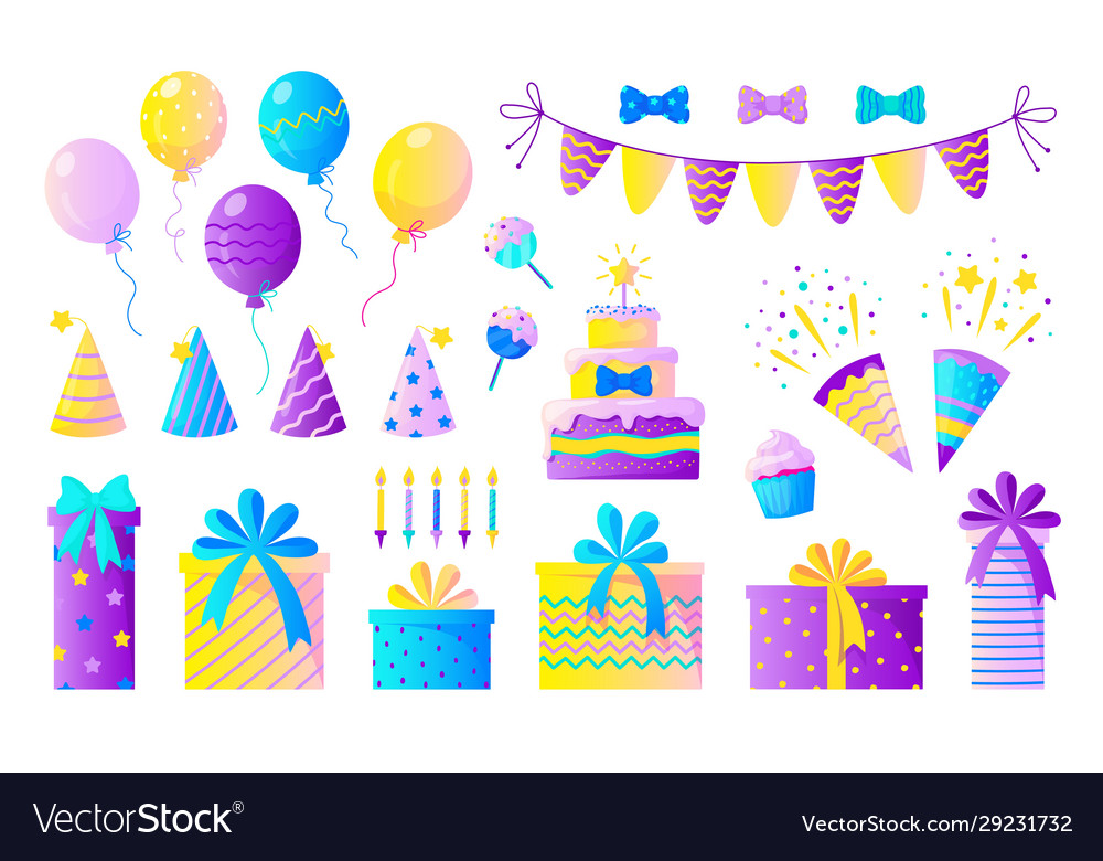 Birthday party set decorative elements for