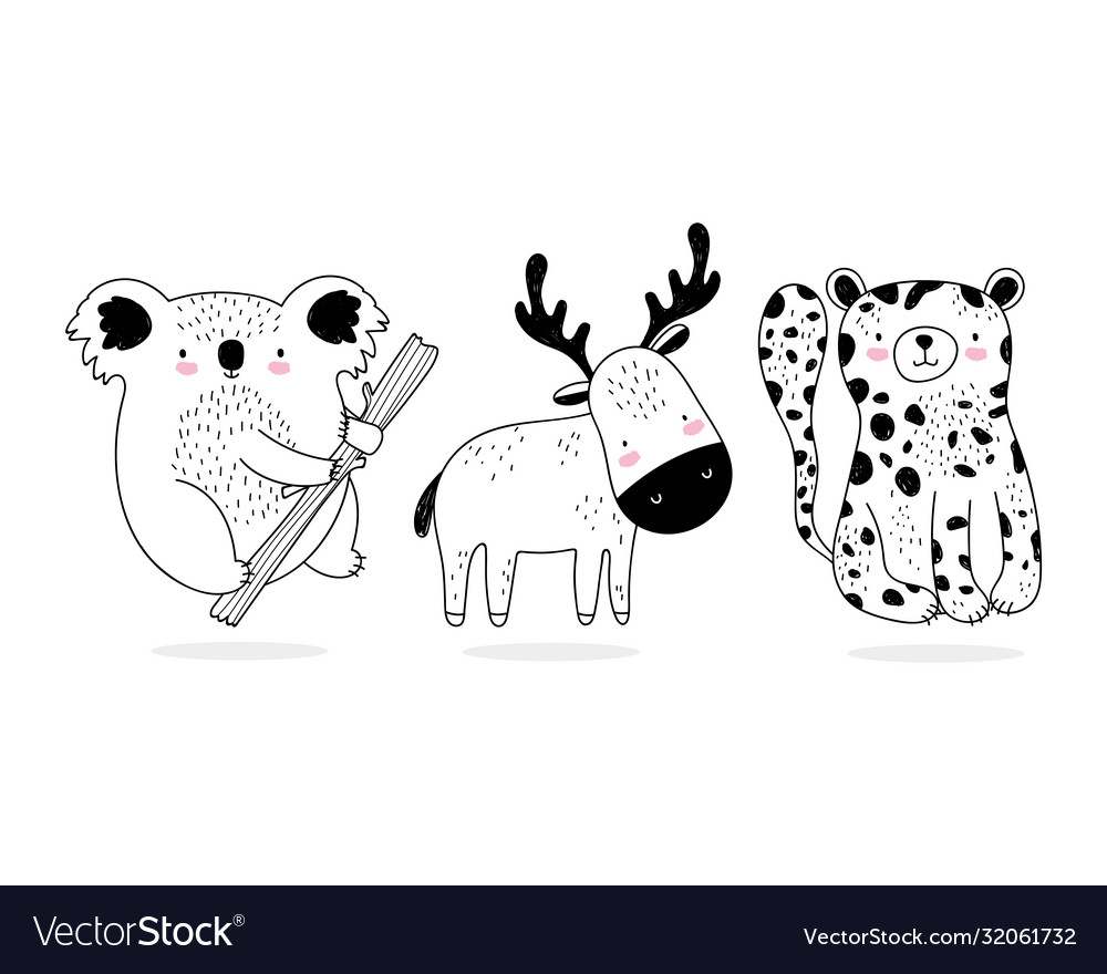 Cute Animals Sketch Wildlife Cartoon Adorable Vector Image