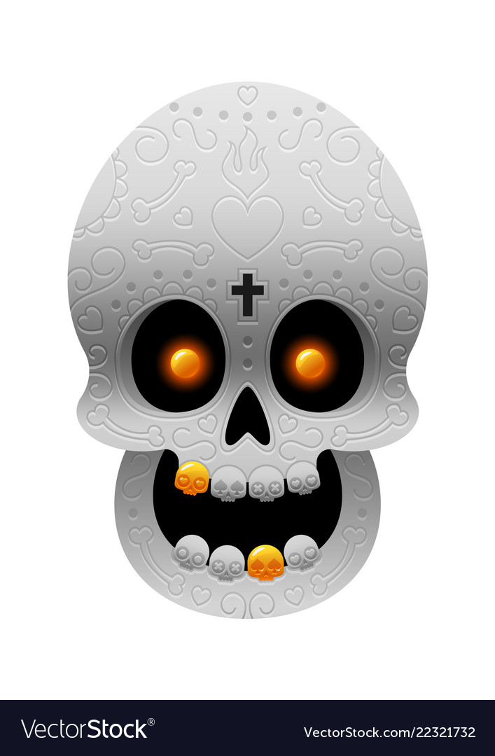 Day of the dead mexican skull with gold teeth