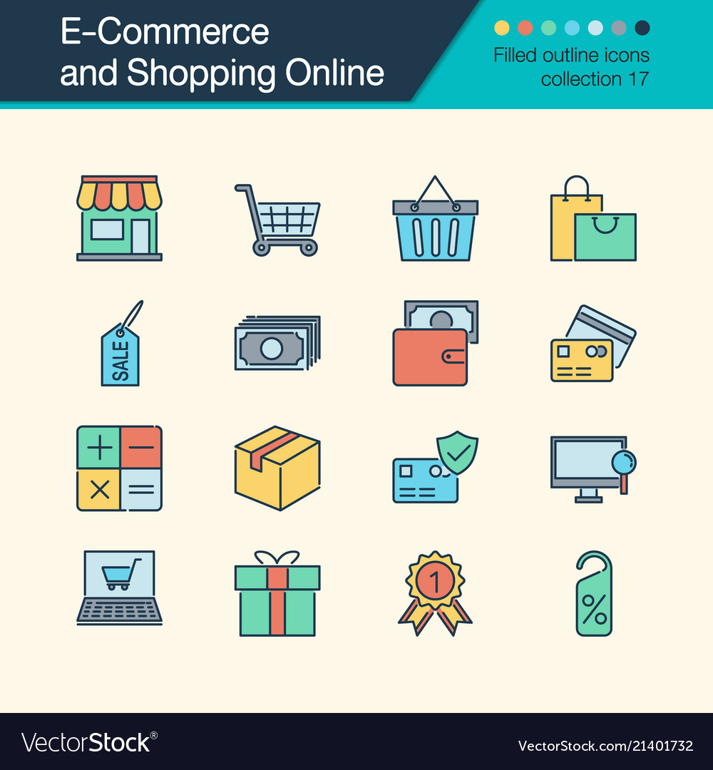 E-commerce and shopping online icons filled