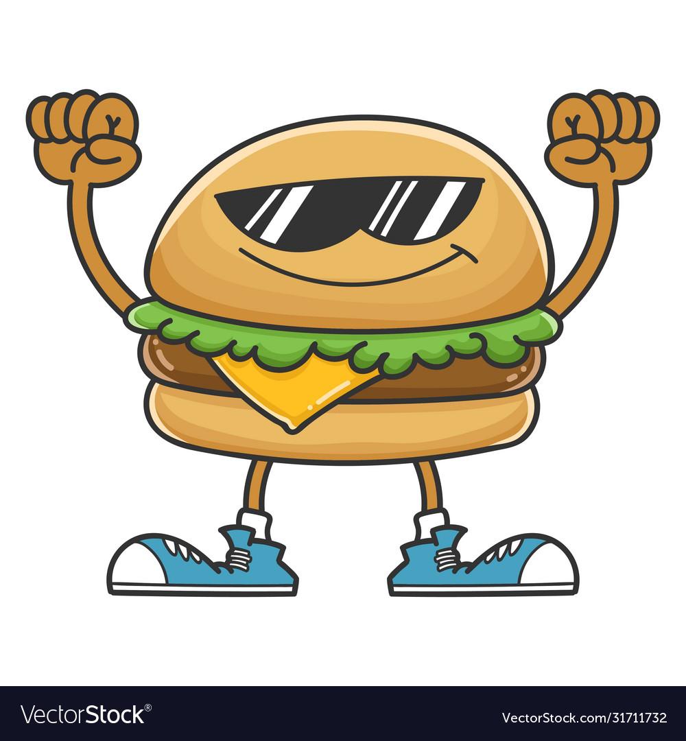 Hamburger cartoon character with sunglasses