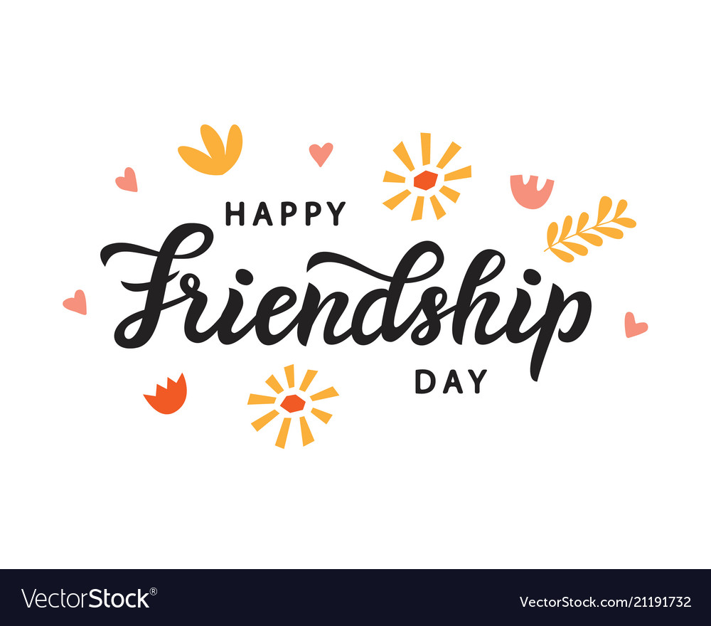 Happy friendship day cute poster brush lettering