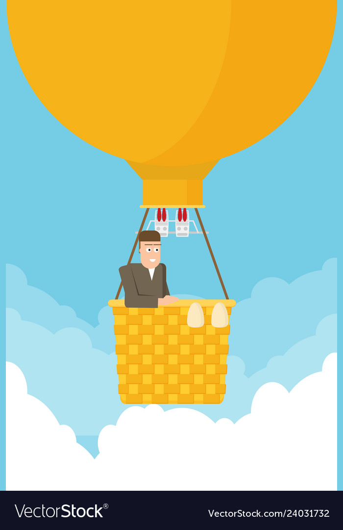 Man in a hot air balloon planning summer