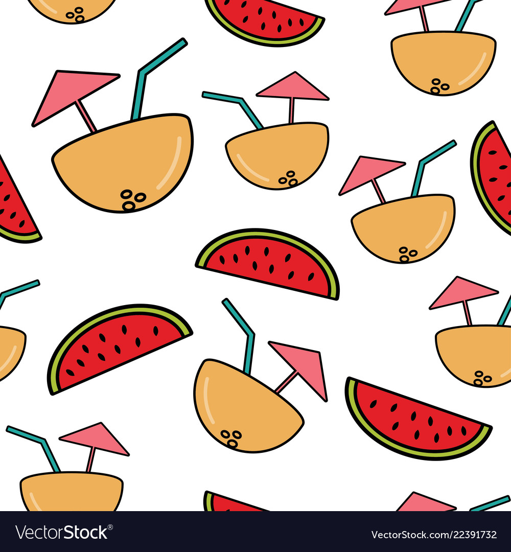 Seamless pattern with cocktail in half coconut