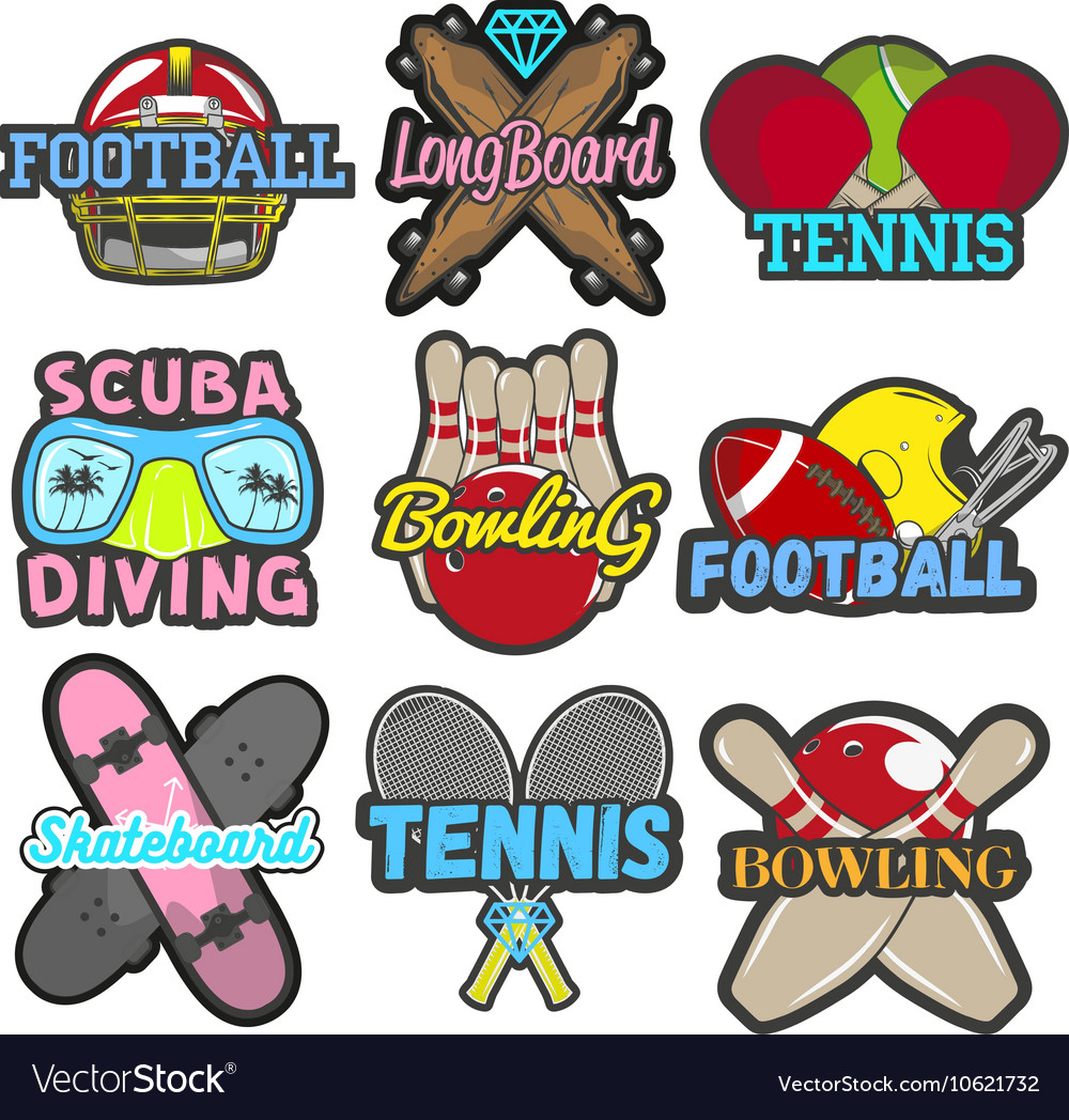 Set of sports emblems badges logos