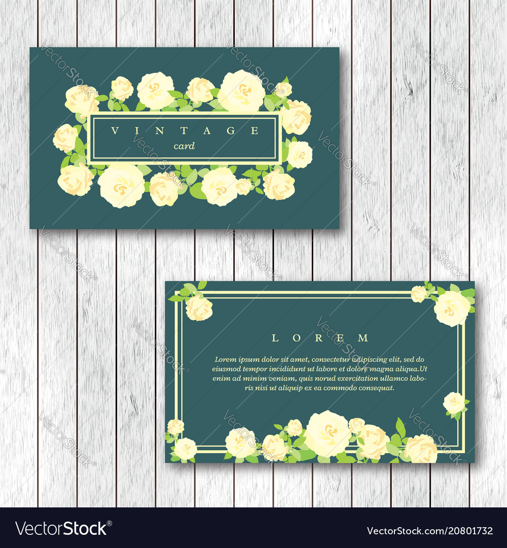 Set of vintage horizontal business cards template