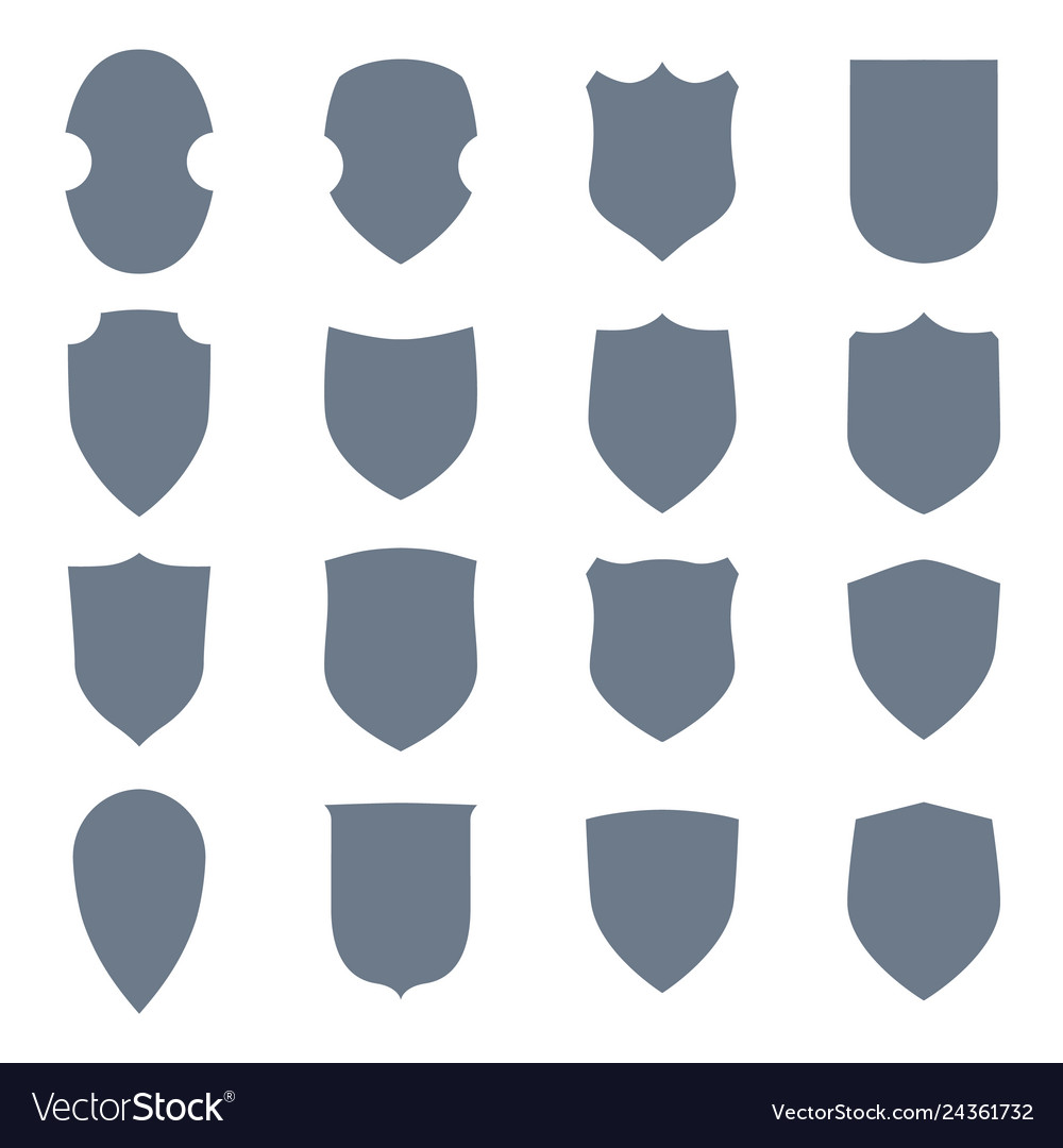 Shield shape icons set gray label signs isolated