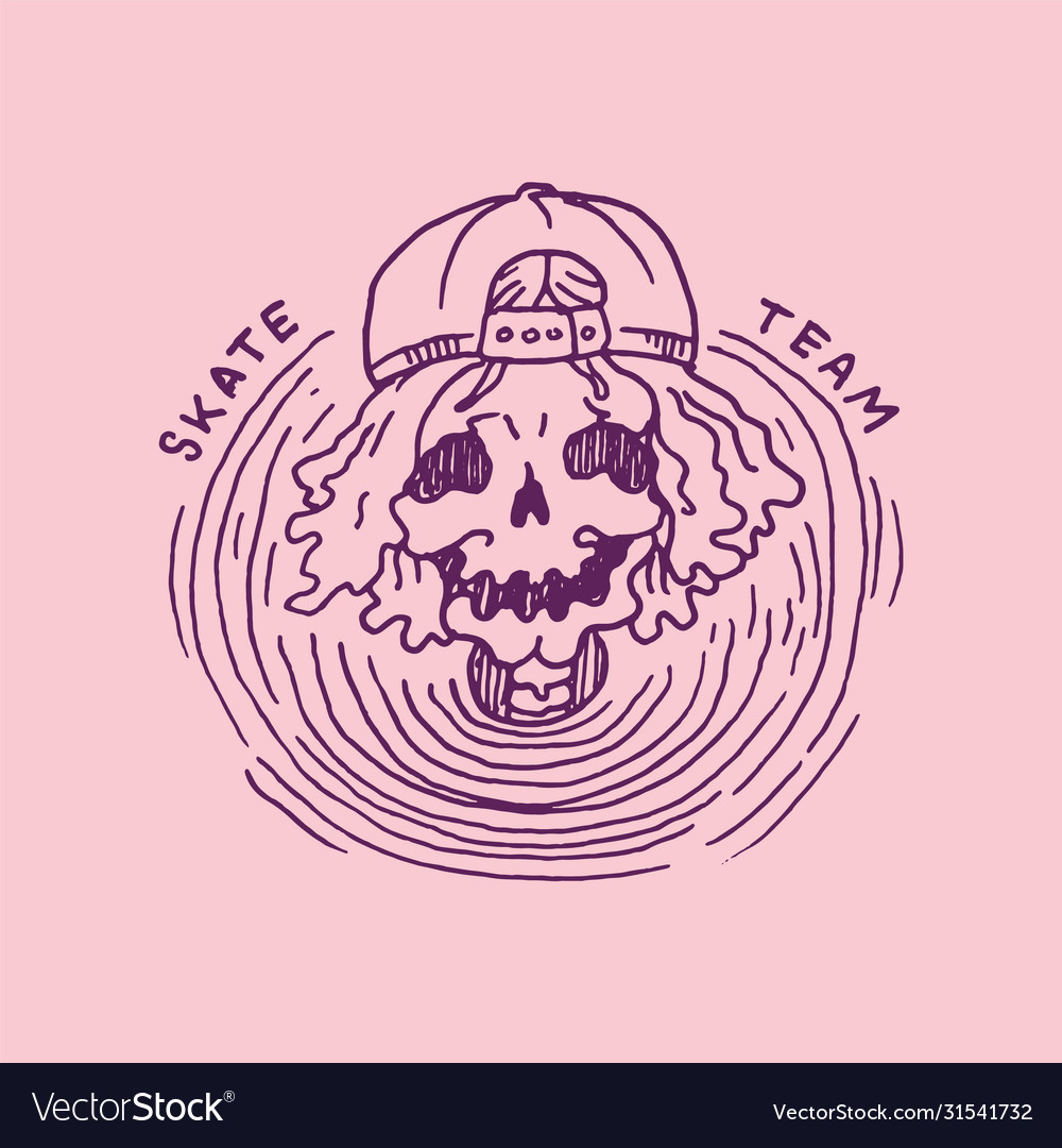 Skeleton in a cap skateboard label for typography
