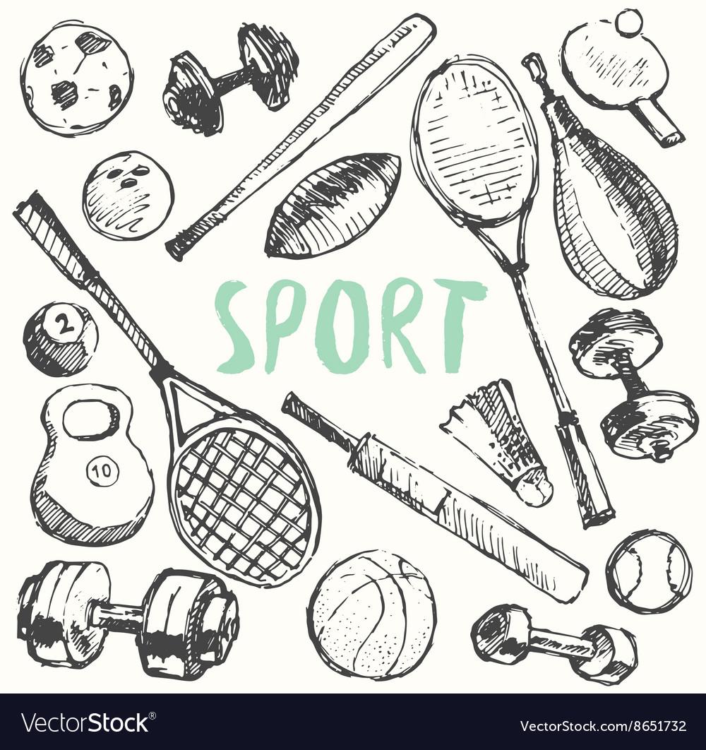 Sport equipment doodle set drawn sketch