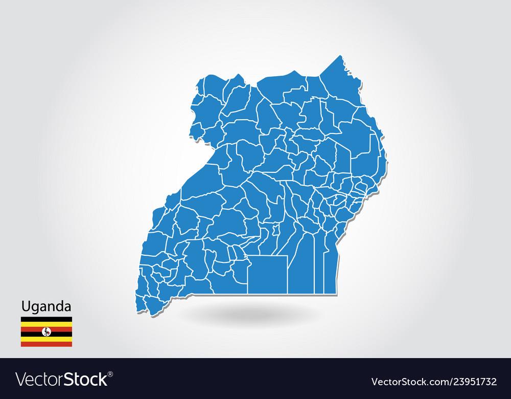 Uganda map design with 3d style blue uganda map