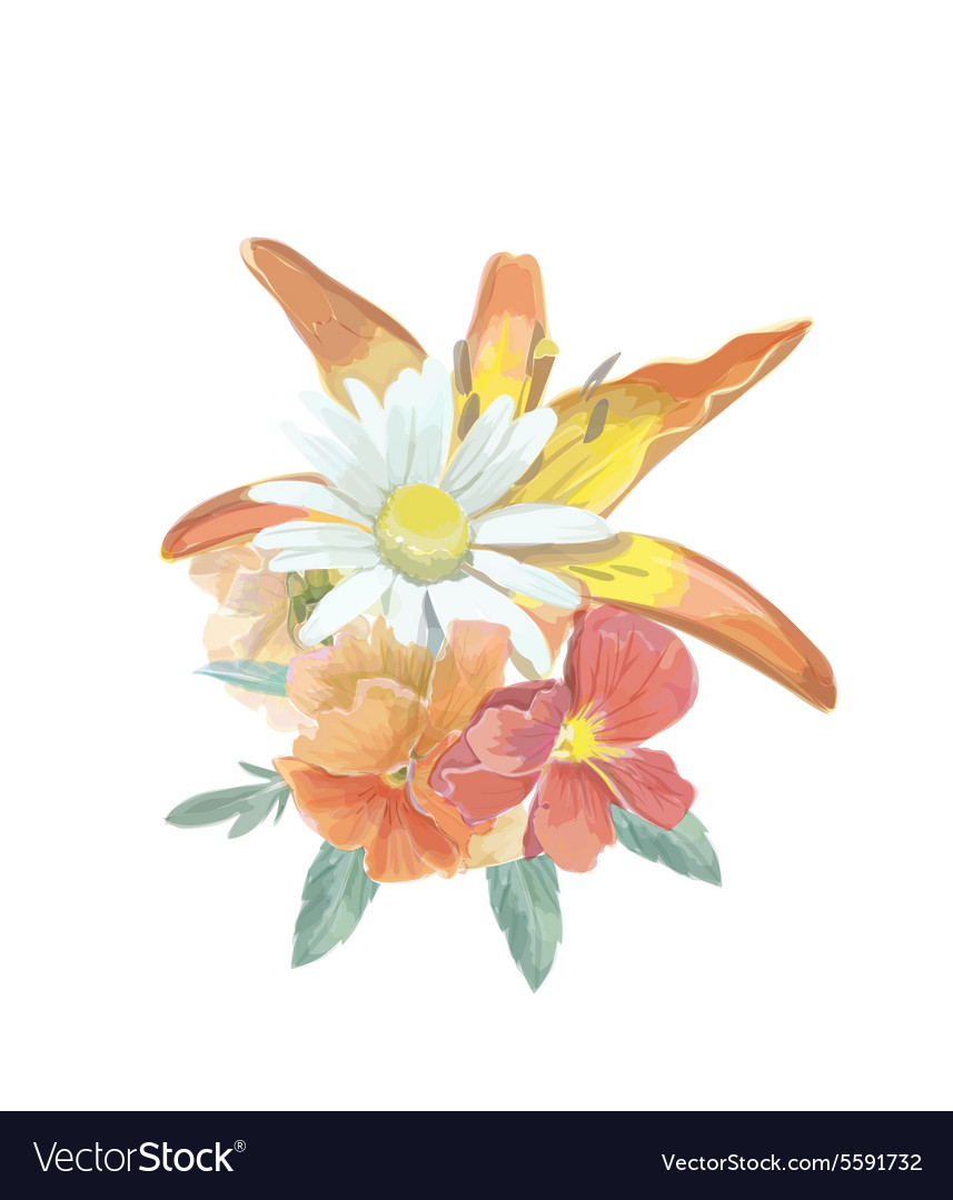 Watercolor bouquet greeting card with lily