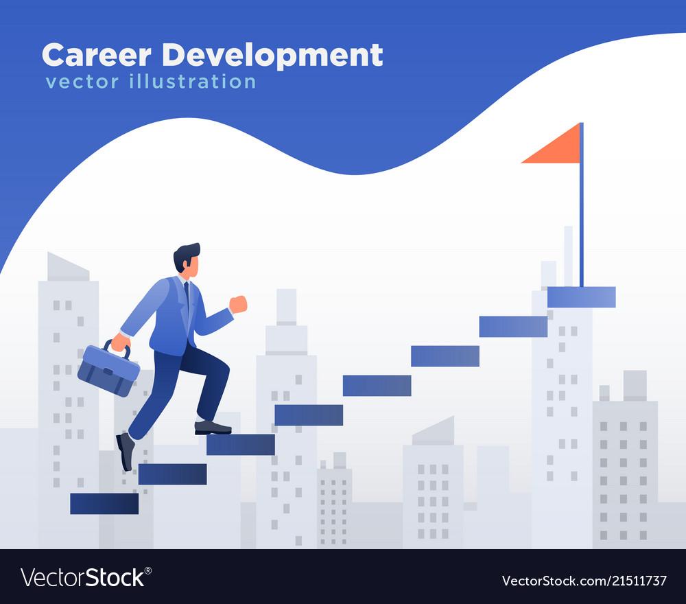 Businessman walking at stairs