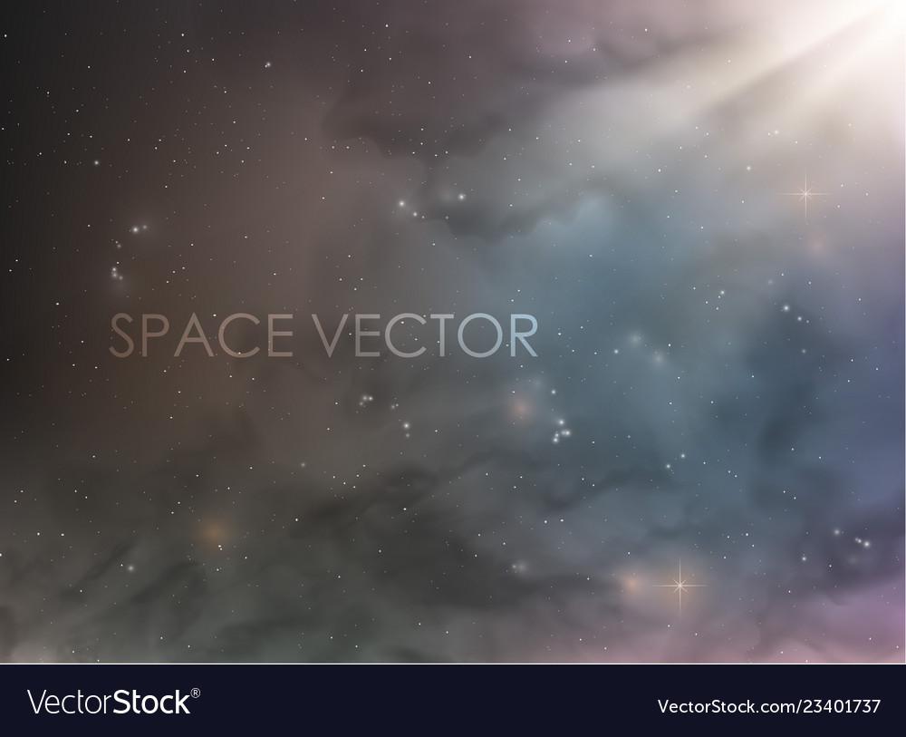 Cosmic space with nebula and smoke stars on