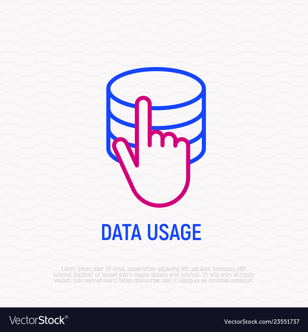 Data usage and access icon hand pushing on server