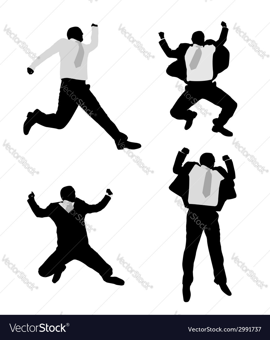 Excited businessmen jump