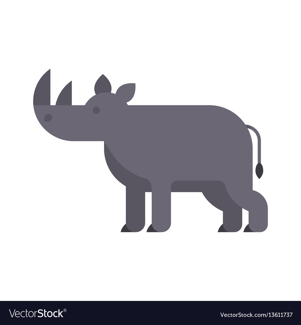 Flat style of rhino vector image