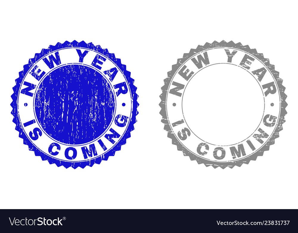 Grunge new year is coming textured stamp seals