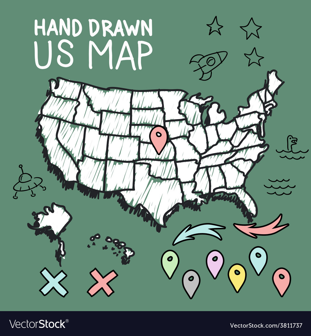 Hand Drawn Us Map.Hand Drawn Us Map On Chalkboard Royalty Free Vector Image