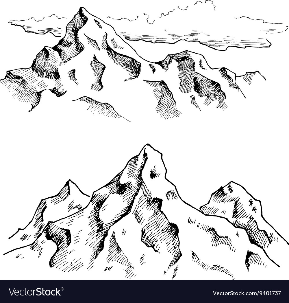 Mountains drawing Hand drawn mountains