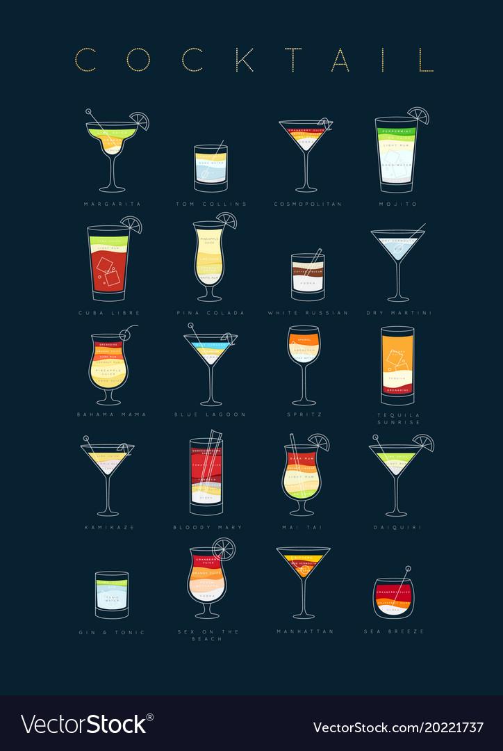 Poster cocktails flat dark blue
