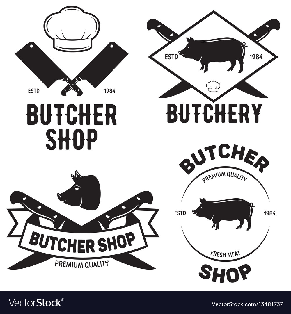 Set of butchery logo templates butchery labels