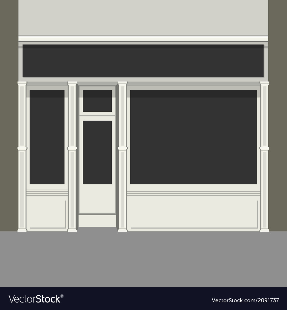 Shopfront with Black Windows Light Store Facade vector image