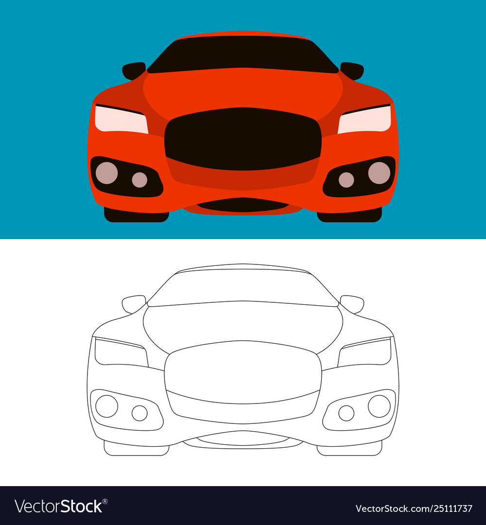 Sports cars flat style front