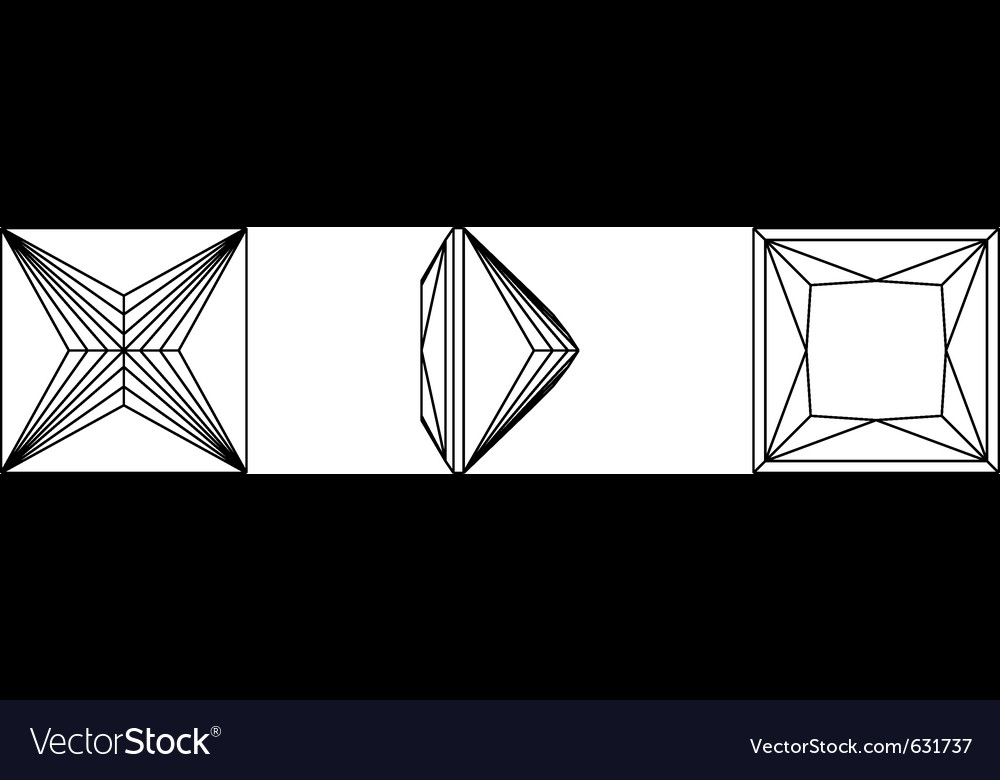 Square shapes of a gemstone against white backgrou vector image