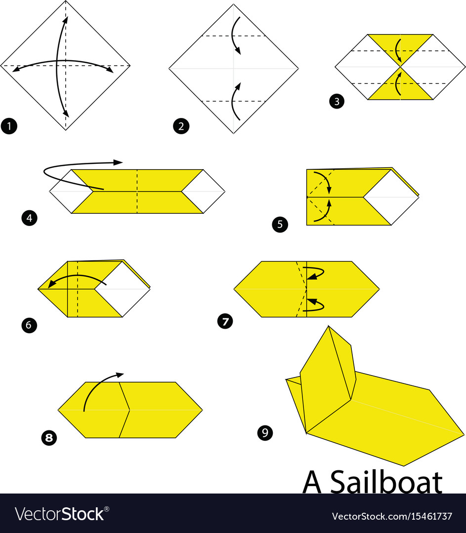 Step instructions how to make origami a sailboat vector image