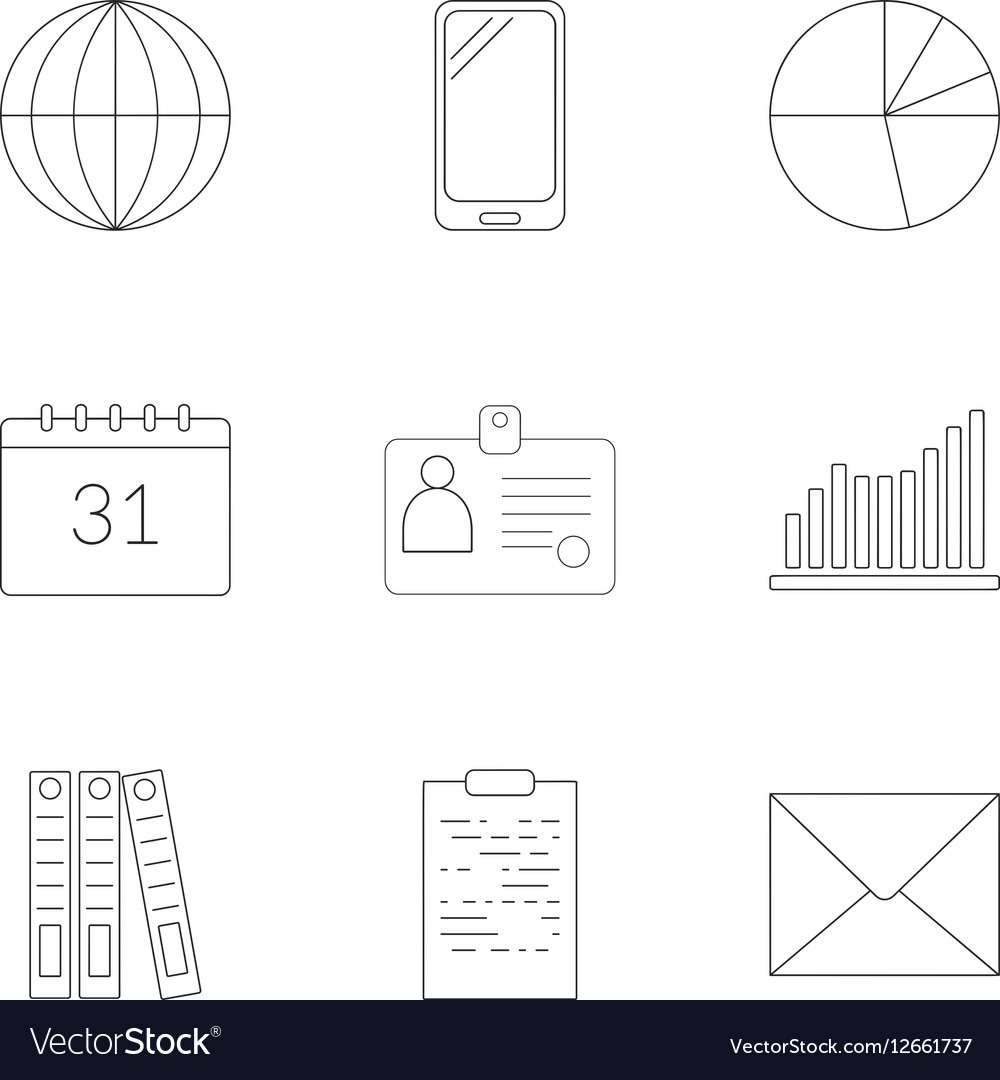 Time management icons set outline style