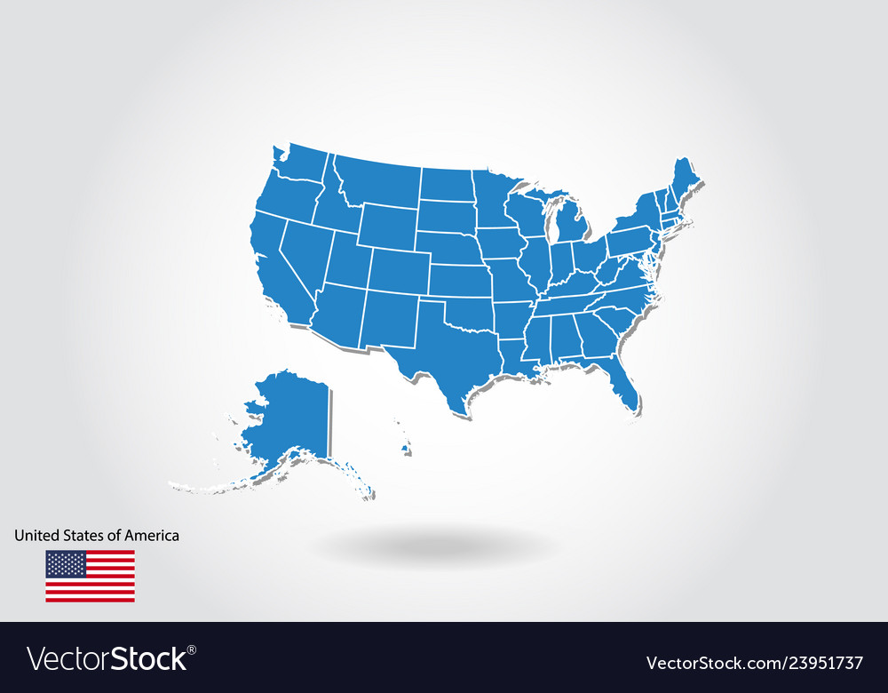 United states map design with 3d style blue usa