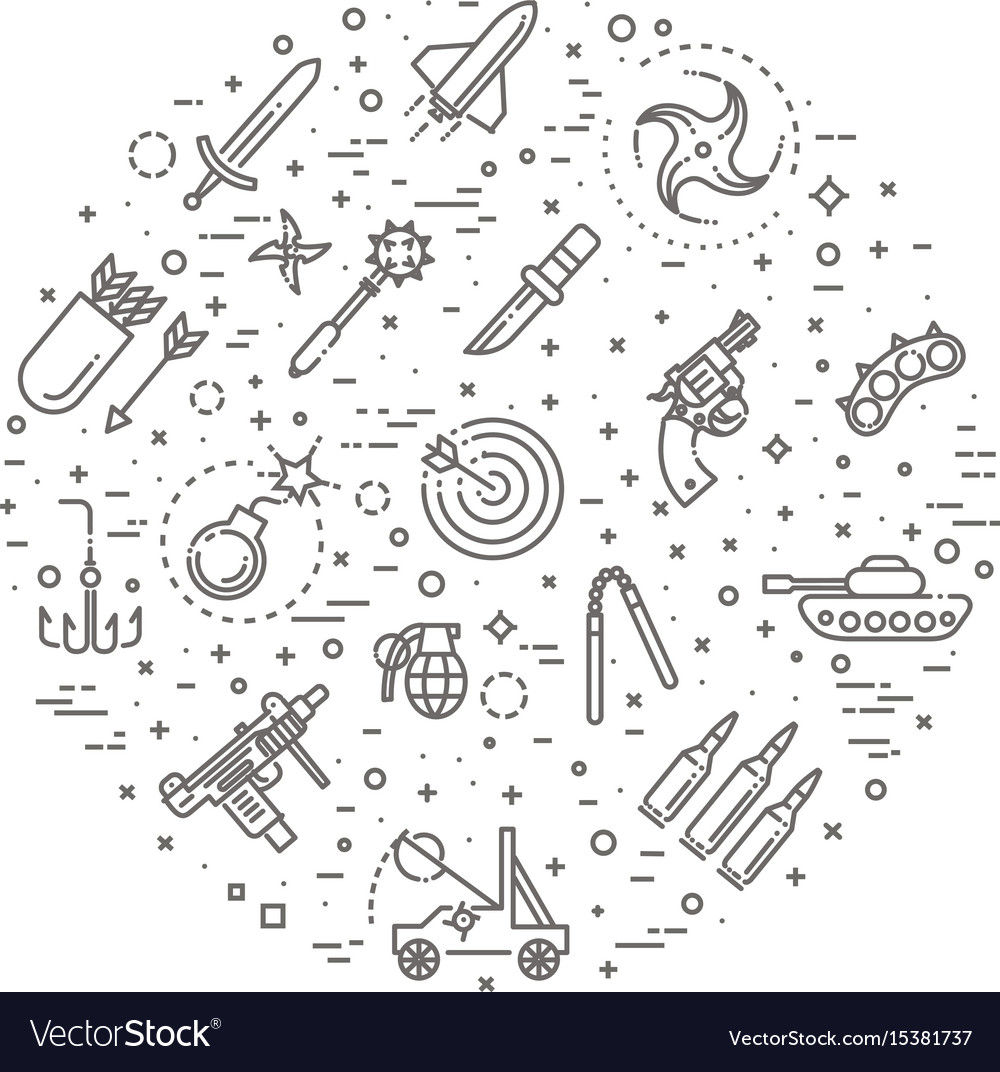 Weapons Icons Set Arms Solid Symbol Royalty Free Vector