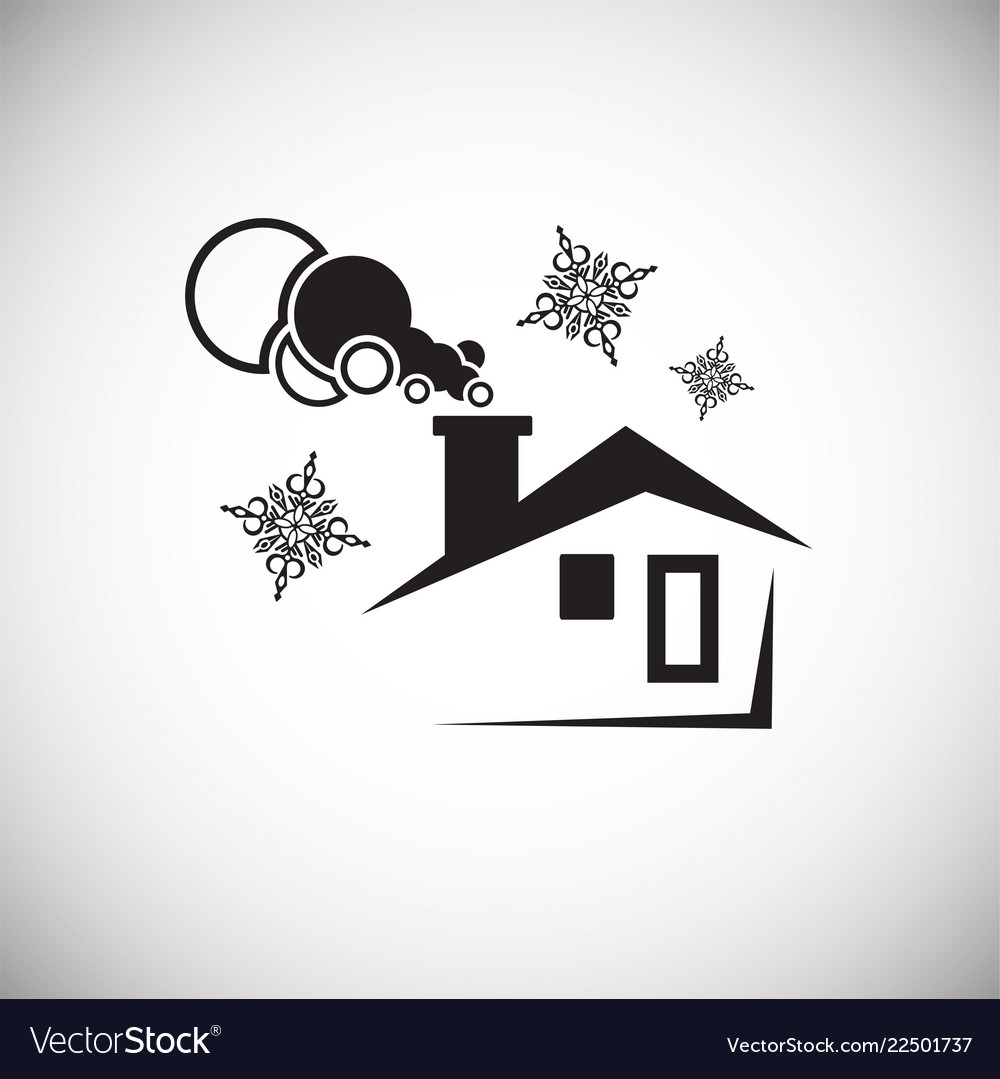 Winter house on white background