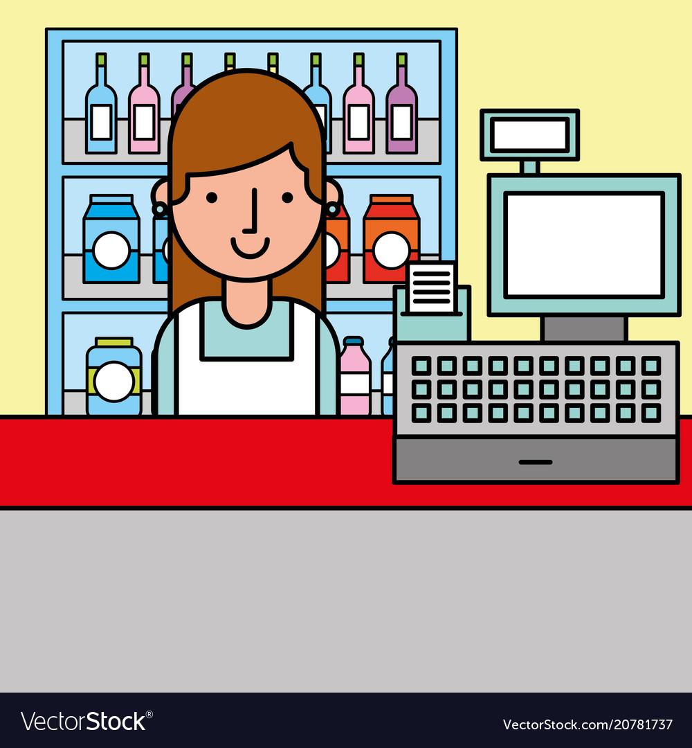 Woman cash register and shelves supermarket vector image