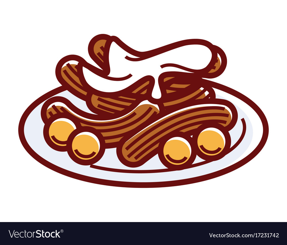 Churros with sweet cream on plate isolated
