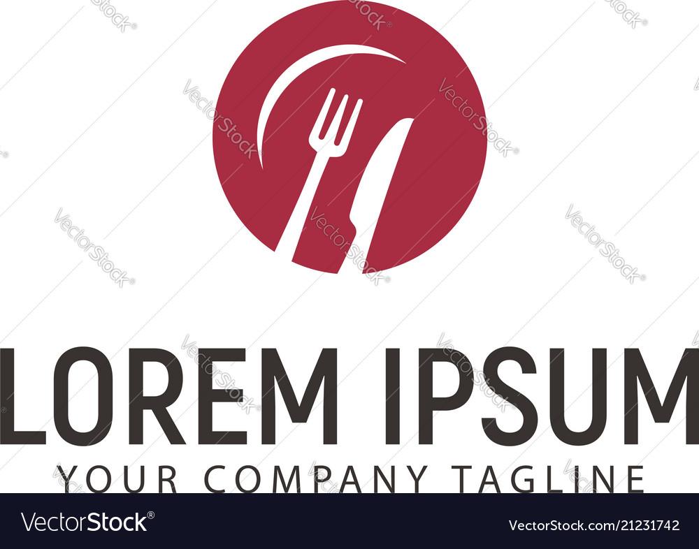 Fork knife plate logo design concept template vector image