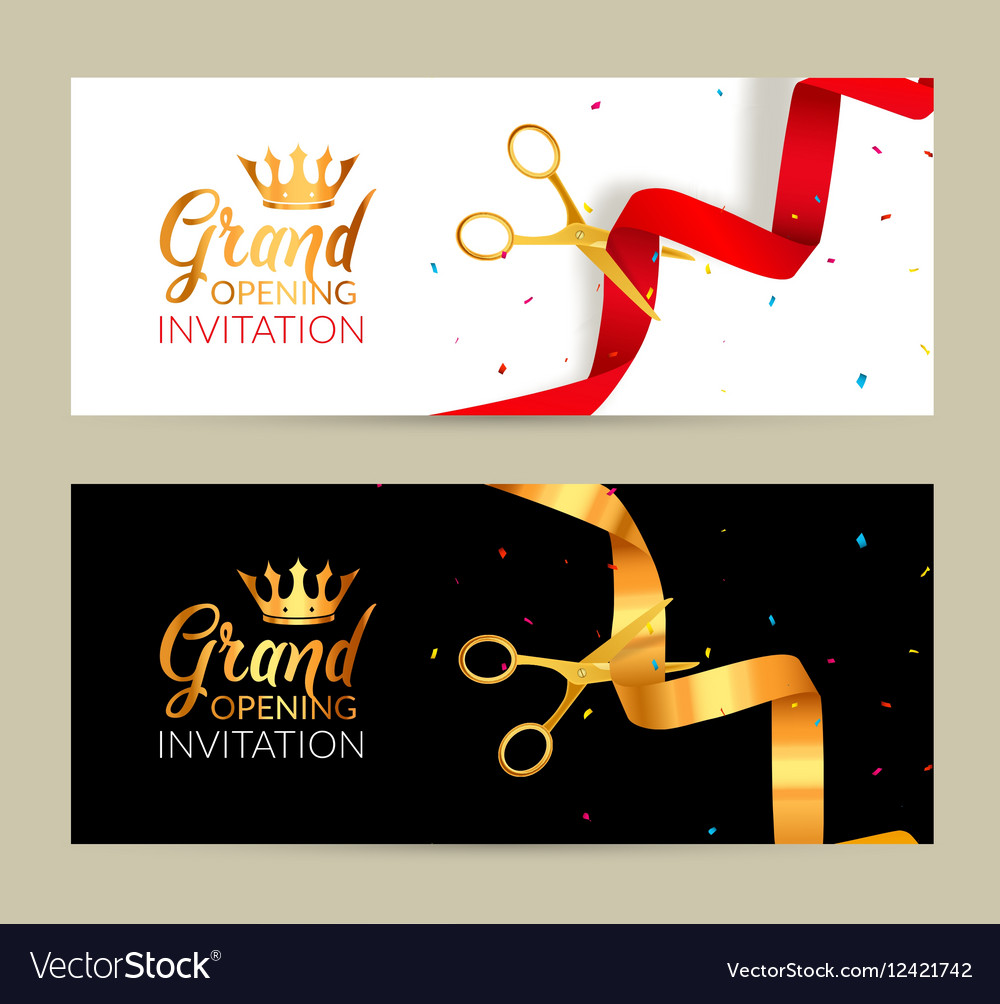 Grand opening invitation banner golden ribbon and vector image stopboris Images