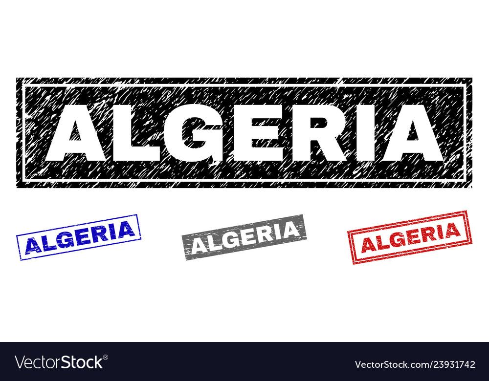 Grunge algeria textured rectangle stamps