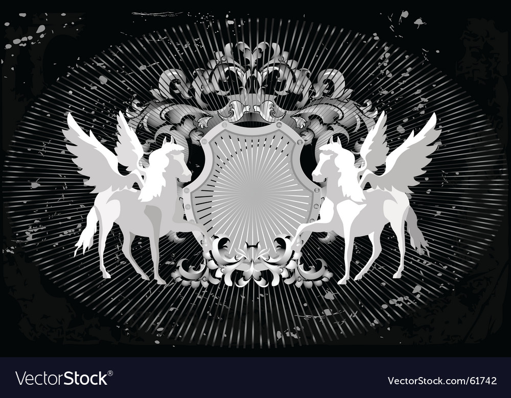 Horses and wings vector image