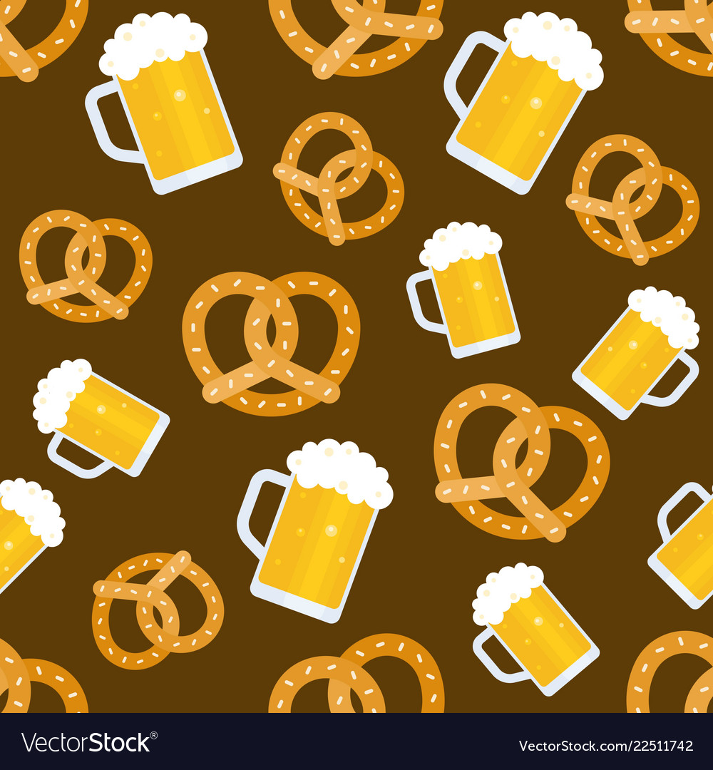 Oktoberfest seamless pattern beer jug and pretzel
